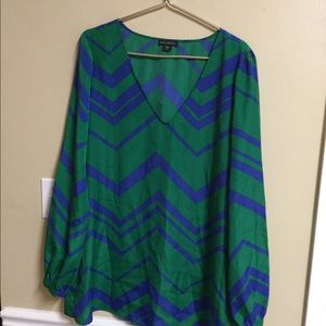 Metaphor green blue V neck Tunic top polyester Xl